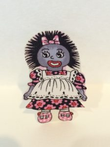 Golliwog Iron On Motif with one girl