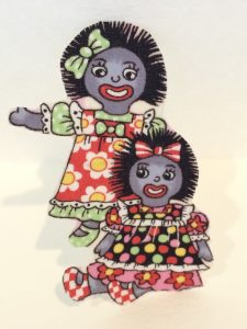 Golliwog iron on motif two girls