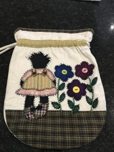 FABRIC GOLLIWOG BAG WITH DRAWSTRINGS