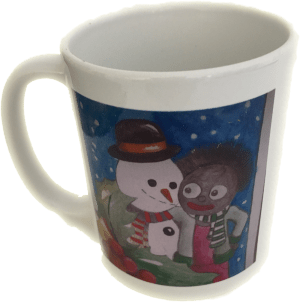 Mug with Golliwog and Snowman