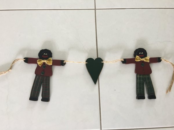 Pre-loved Wooden golliwog hanger with Heart
