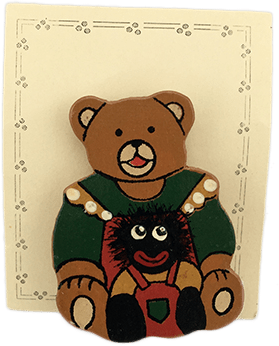 Wooden Teddy Bear and Golliwog Brooch