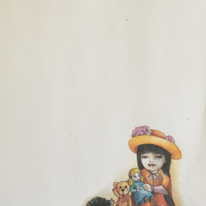Notepad 3 is with girl holding golliwog and teddy.