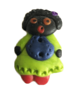 Clay Button Girl Golliwog