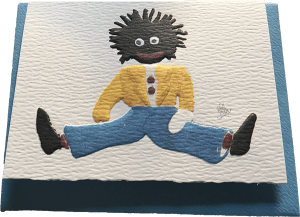 Large blue Golliwog card