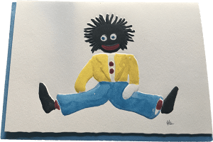 Small blue Golliwog card