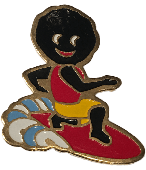 Robertsons Badge: Surfboarding Golliwog