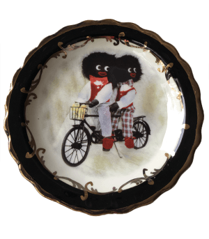 Round Plate with Biking Golliwogs with black trim