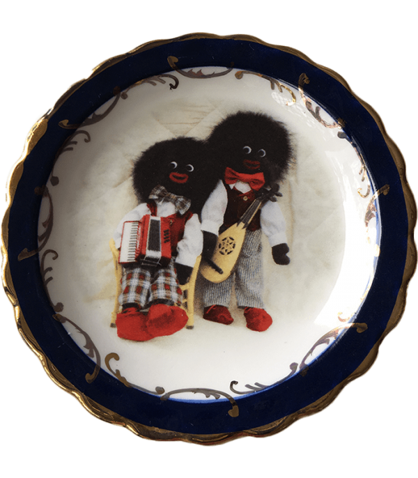 Round Plate with Musical Golliwogs with blue trim