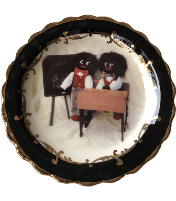 Round Plate with School Golliwogs with black trim
