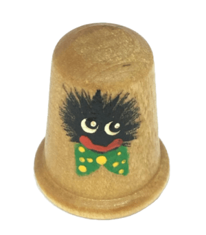 Wooden Thimble with Handpainted Golly with Green bow tie