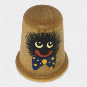 Wooden Thimble with Handpainted Golly